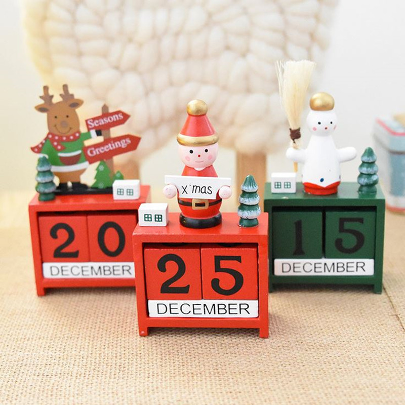 Coloffice 1PC Christmas Wood Desktop Calendar Learning Periodic Planner Furnishing Calendar Gift Table Stationery Decorative