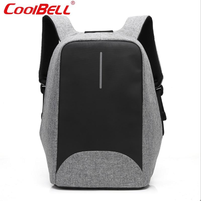Cool Bell 2017 Waterproof 15 6 inch Men Women font b Backpack b font Anti theft