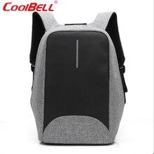 Cool bell 2017 impermeable 15.6 pulgadas hombres mujeres mochila antirrobo mochila bolsa de negocios para el ordenador portátil externo usb de carga