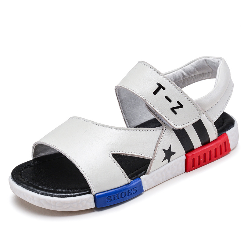 2018 Childrens Sandals Genuine Leather Summer Sandals Boys Baby Beach Shoes Fashion Sport Sandal For Boys Casual Shoes KS425