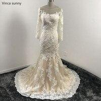 Real Photo Luxury Long Sleeve Lace Appliques Wedding Dress 2018 Mermaid Vestido De Noiva Wedding Dresses