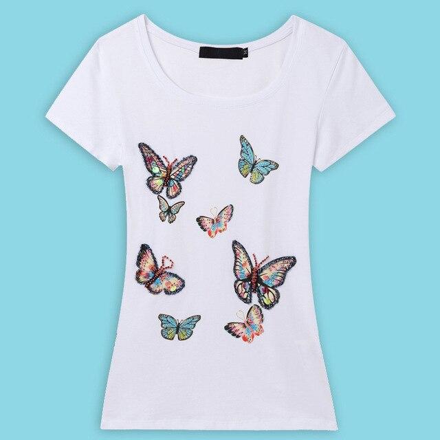 2016 Verano Mujer Tops Marca Camiseta de Las Mujeres A Mano Con Cuentas de La Mariposa camisetas Para Las Mujeres Poleras de mujer Más El Tamaño Tee Femme camisa
