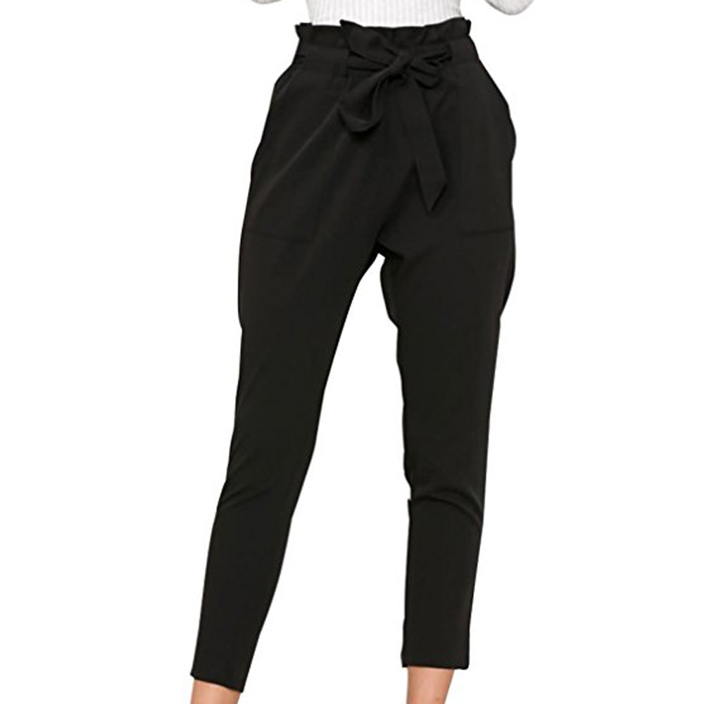 dropship Black High Waist   Wide     Leg     Pants   Casual Lace Up Over Women Elegant Stretch Chiffon Hosen   Pants   Casual Streetwear#N04