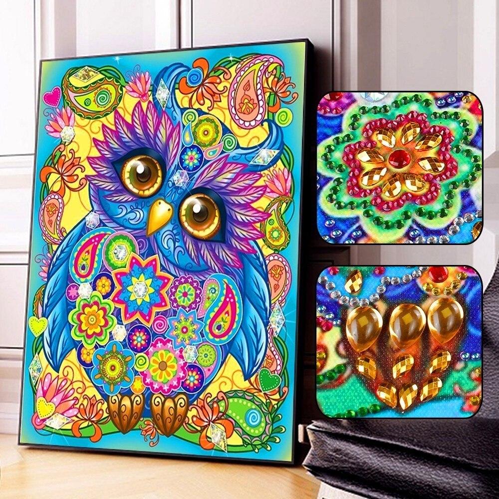 Алмазная живопись AZQSD в виде совы, милый стиль, сделай сам, 5D, Набор для вышивки крестиком, картина из кристаллов, художественные декорации в специальной форме для дома