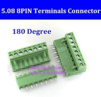 5.08 5.08mm 8pin 8 Pin Terminal plug type 300V 10A 5.08mm pitch connector pcb screw terminal block 180 degree