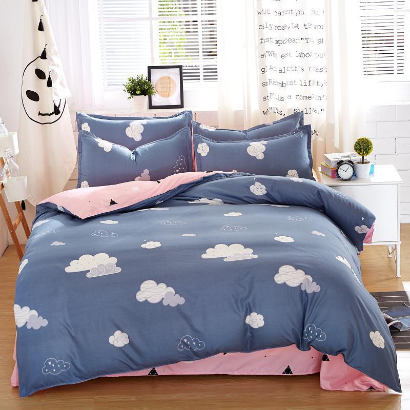 2018 spring Bedding set dark-color series bed linens 4pcs flower bed set Modern grid duvet cover + flat sheet Mans bed cover set