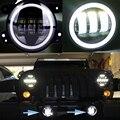 4 Дюймов Круглые Светодиодные Противотуманные фары Фара 30 Вт Проектор объектив С Halo DRL Лампа Для Offroad Jeep Wrangler Jk Dodge Harley Daymaker
