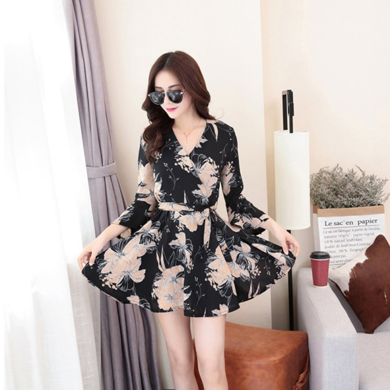 Women <font><b>Dress</b></font> Summer <font><b>Sexy</b></font> <font><b>V</b></font> Neck <font><b>Floral</b></font> <font><b>Print</b></font> Chiffon <font><b>Dress</b></font> <font><b>Boho</b></font> Style <font><b>Short</b></font> Party <font><b>Beach</b></font> <font><b>Dresses</b></font> Vestidos image