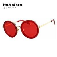 HsAblaze 안경 큰 라운드 선글라스 여성 레드 태양 안경