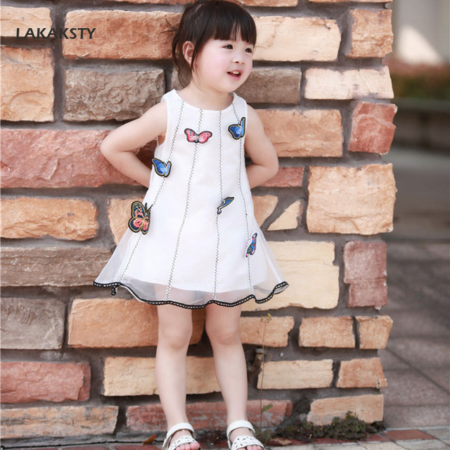 315d98a8984 LAKAKSTY White Dress For Kids Girls 3D Butterfly Dresses Costumes 2018 Summer  Clothes For Children Vaiana Party Dress Baby Girl