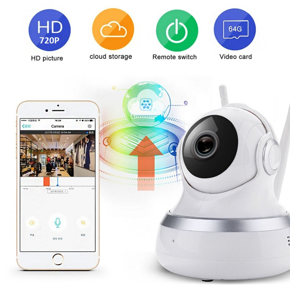 US $33 29 10% OFF|factory price 720p ip camera wireless ptz auto rotate  tracking security camera wifi night vision cloud storage 2 way audio-in