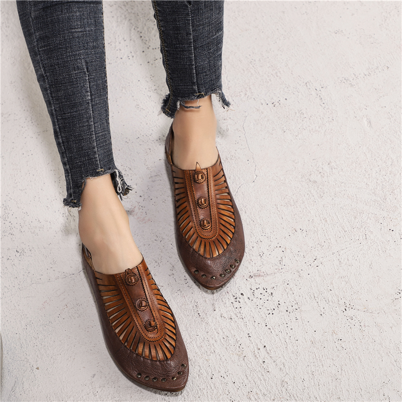 Women Leather Flats Pointed Toe Brand Loafers Women Spring Shoes Low Heel 2019 Retro Fashion Handmade
