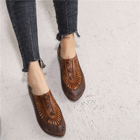 Women Leather Flats Pointed Toe Brand Loafers Women Spring Shoes Low Heel 2019 Retro Fashion Handmade Women Genuine Leather Flat