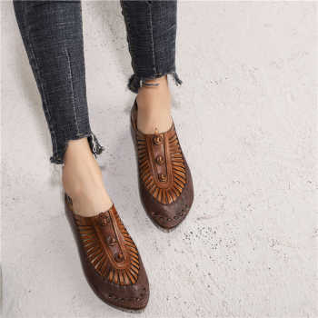 Women Leather Flats Pointed Toe Brand Loafers Women Spring Shoes Low Heel 2019 Retro Fashion Handmade Women Genuine Leather Flat - DISCOUNT ITEM  39% OFF Shoes