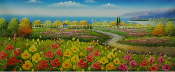 Hand Painted Knife Thick Flower Oil Painting on Canvas Beautiful flower Farm Landscape Wall Picture Painting for Living Room