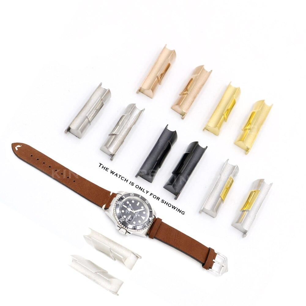 Rolamy 20mm argent or noir Rose or solide extrémité incurvée lien pour Rolex Submariner bracelet de montre en caoutchouc cuir
