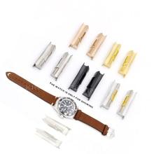 Rolamy eslabón de extremo curvado sólido, 20mm, dorado, plateado, Negro, Rosa, dorado, para pulsera de reloj, Cuero de goma