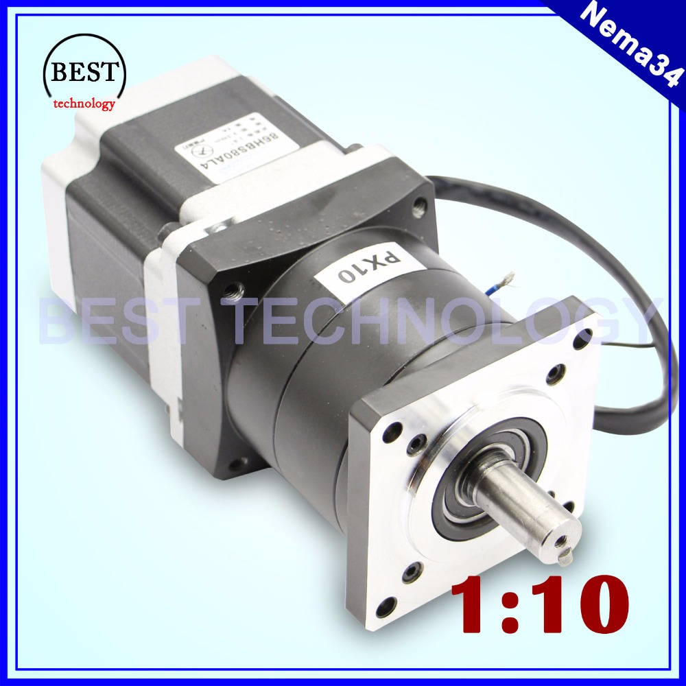 Nema34 stepper Motor Planetary Reduction Ratio 1:10 1:16 planet gearbox 86 x 80 motor speed reducer, High Torque high quality high quality 5n m 42 42 119 7mm brushless dc motor with planetary gearbox reduction ratio 104 8