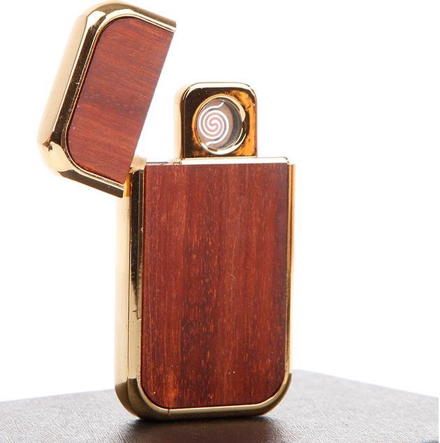 20167Lobular red sandalwood square usb charging electronic cigarette lighter windproof lighter ignition free shipping LH0404