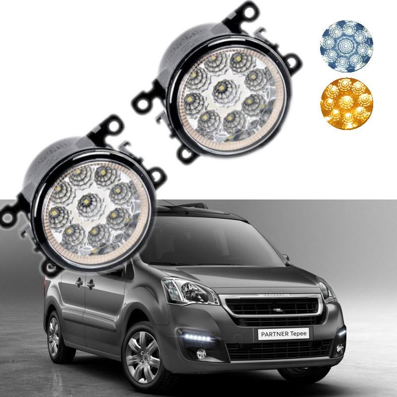 Car-Styling For Peugeot Partner Tepee 2008-2017 9-Pieces Leds Chips LED Fog Light Lamp H11 H8 12V 55W Halogen Fog Lights for opel meriva a 2006 2007 2008 2009 2010 9 pieces leds chips led fog light lamp h11 h8 12v 55w halogen fog lights car styling