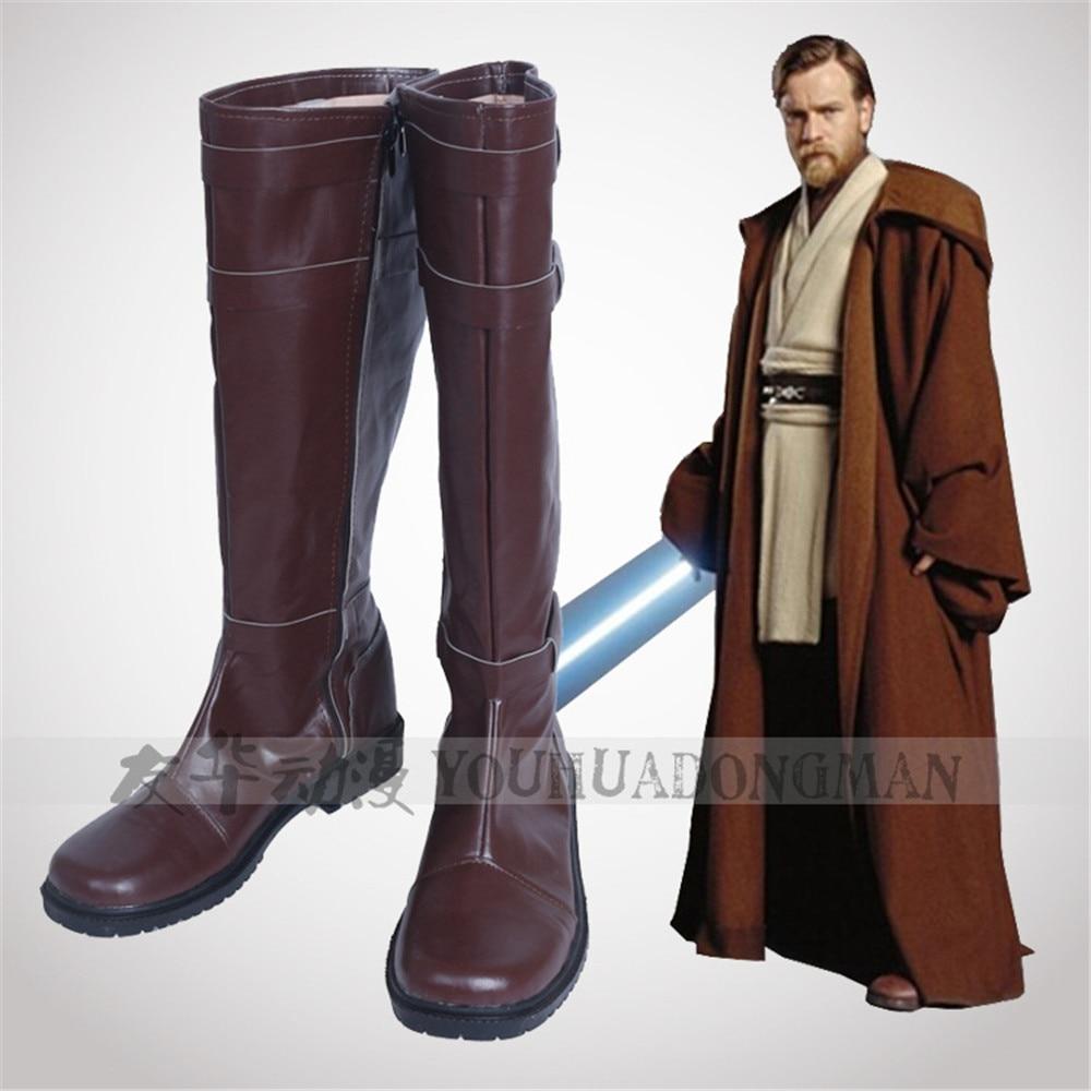 Anime Jedi Knight Obi-Wan Anakin Skywalker Cosplay chaussures Cos bottes faites à la main livraison gratuite sur mesure