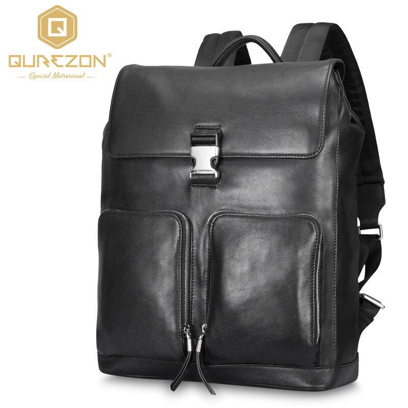 2017 Brand Laptop Backpack Men's Travel Bags 2017 Multifunction Rucksack Genuine Leather Bagpack Black Casual Backpacks For Men