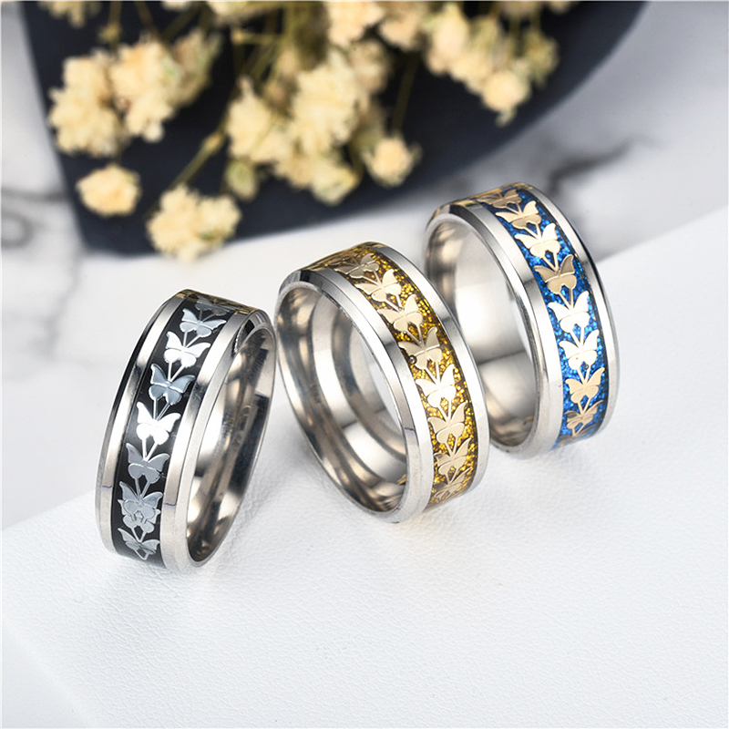 Charitable High Quality Women Men 1pc 3 Colors Seaside Stainless Steel Bohemian Vintage Butterfly Totem Ring 2018 New Arrival Allergy Free