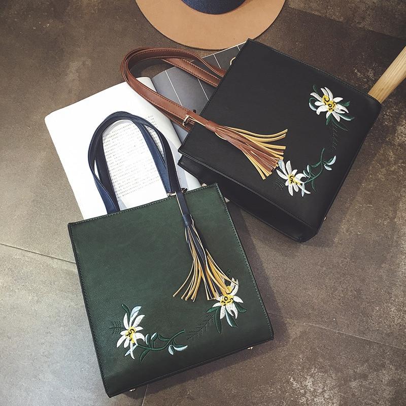 2017Spring fashion new handbags High quality PU leather High capacit Women bag embroidery tassel Designer Handbags