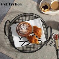 SAE Fortion Round Hollow Iron Wire Multifunction Storage Basket Food Home Kitchen Office Storage Basket SQZ6457