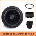 Yongnuo YN35mm F2 объектив широкоугольный Большой Диафрагма Фиксированный Объектив с Автофокусировкой + 58 мм UV фильтр + объектив сумка + Бленда Объектива Для Nikon