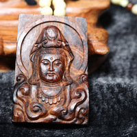 Finest wooden buddha wood carft Chinese HaiNan huanghuali necklace pendant guanyin Amulet ornaments gift collection
