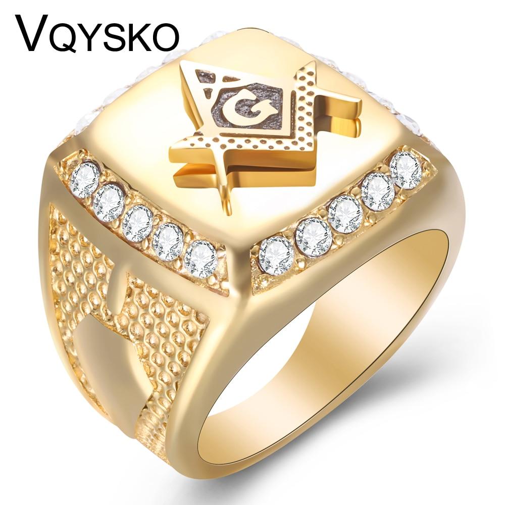 Free Mason Ring Freemasonry Style Tungsten Silver Color Masonic Rings for Men