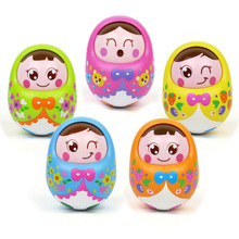 1pcs Baby Toy Rattle Nodding Tumbler Doll Sweet Bell Music Roly-poly Learning Early Educational Toys For Baby Gifts Random Color недорого