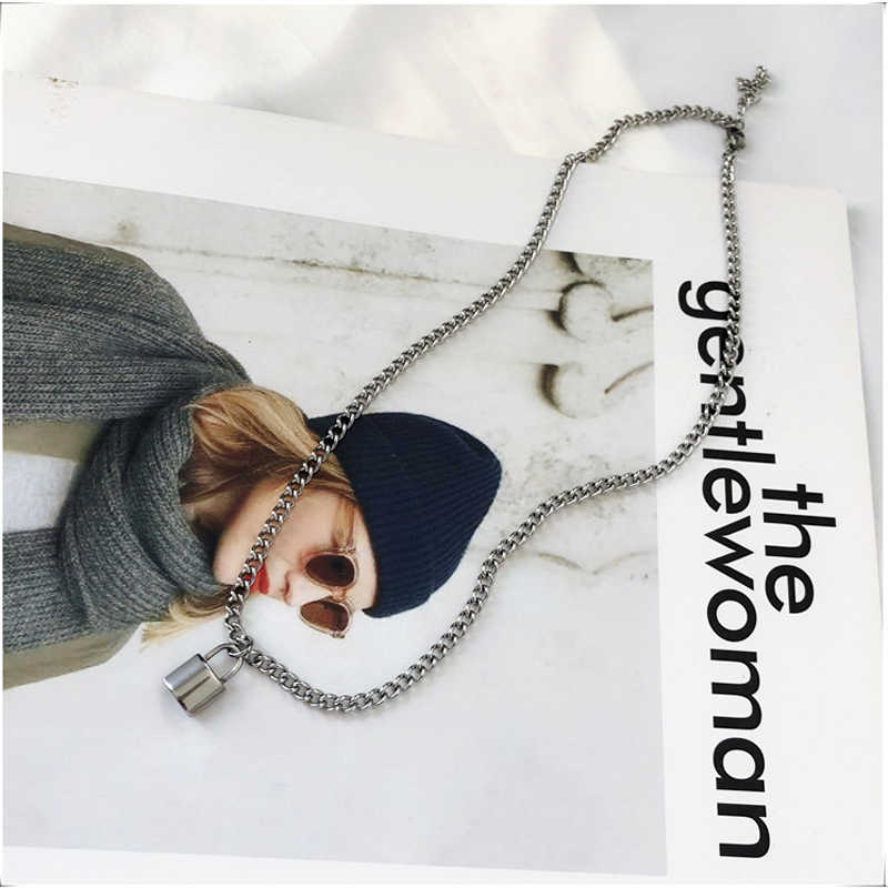 Women Jewelry Silver Color PadLock Pendant Necklace Brand New hip hop Stainless Steel Rolo Cable Chain Necklace Friendship