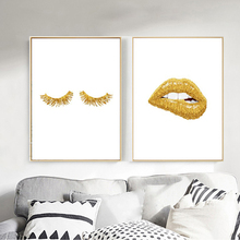 Canvas Printed Poster Nordic Home Decor Gold Lip Wall Art Fashion Style Sexy Lips Lashes Painting Pictures Living Room Modular