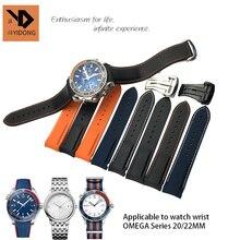 18 мм 19 20 21 22 резиновые силиконовые часы ремешок складной Пряжка Универсальный Perfert для наручные часы Omega Seamaster