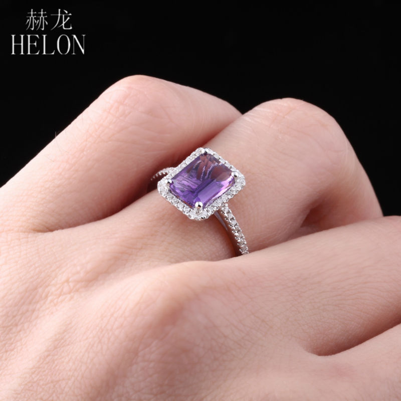 HELON Real Sterling Silver 925 Flawless 1.9ct Amethyst Ring 100% Genuine Natural Diamond Ring For Women Wedding Romantic Jewelry helon sterling silver 925 flawless 11x9mm emerald cut 4 36ct real blue topaz natural diamond engagment wedding ring fine jewelry