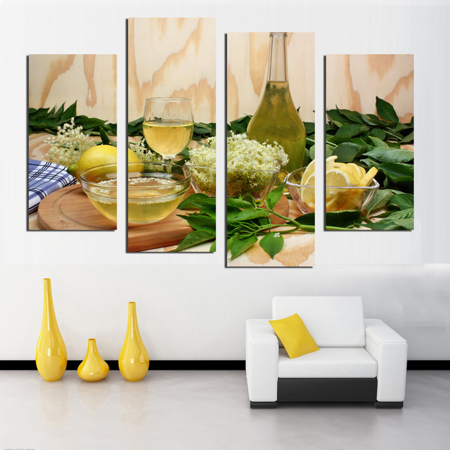 Fruit Lemon Juice Green Flowers Canvas Painting Modern Wall Paintings For Kitchen Picture Paint On