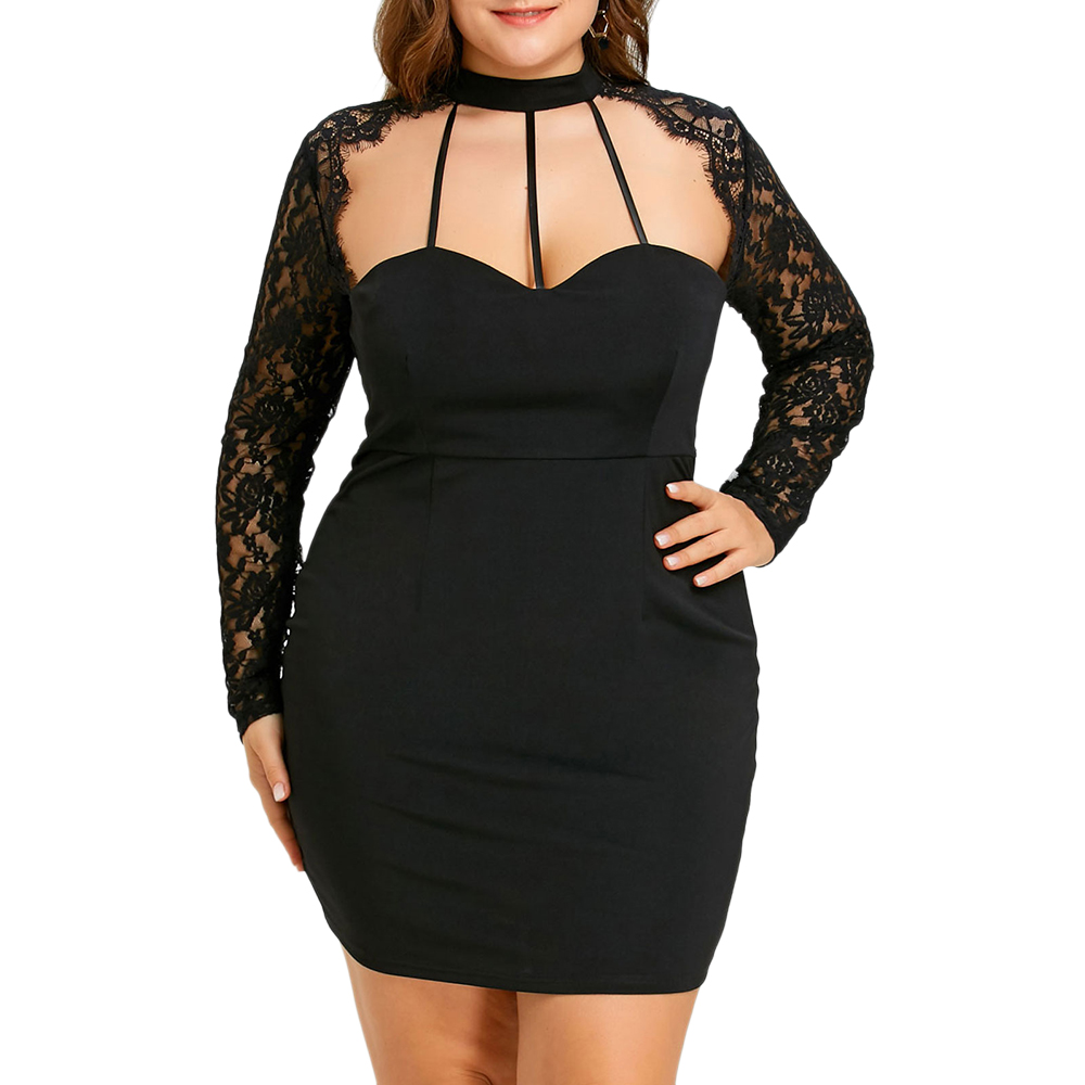 7eb890c5b373 Gamiss Plus Size 5XL Sexy Black Lace Panel Cut Out Halter Dress Women  Bodycon Sheath Sheer Night Party Club Mini Short Dress-in Dresses from  Women's ...
