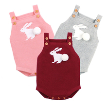 Knit Rompers Children's Winter Baby Girls Sleevless Rabbit Rompers Outfit Clothes Toddler Newborn One-Pieces Jumpsuit
