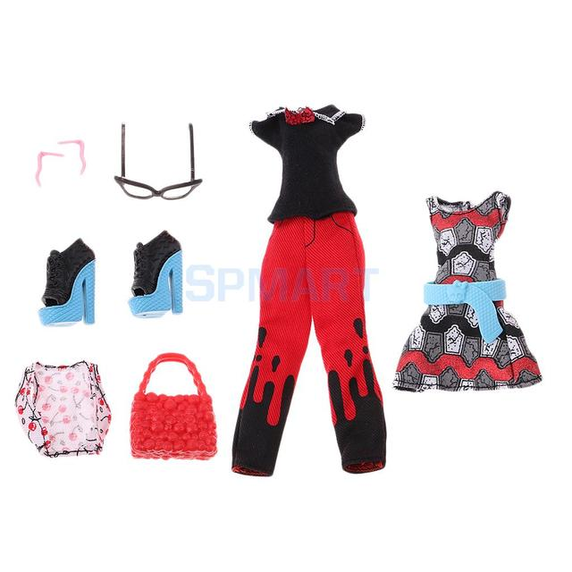 12c9ccf09 Saltos de moda Roupas Acessórios Para Monster High Boneca Vestido Roupas  Bolsa Brinco Óculos Definir