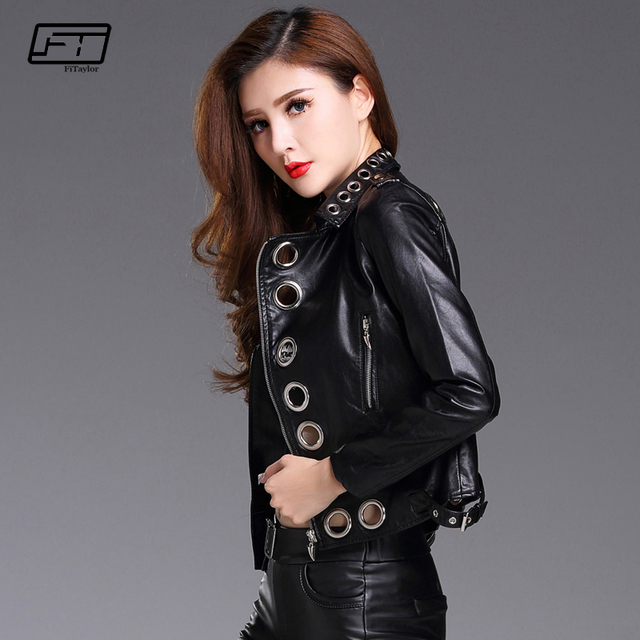 Fitaylor Dây Kéo Màu Đen Hồng Pu Leather Áo Khoác Phụ Nữ Dây Giày Moto Áo Khoác Dây Kéo Cơ Bản Áo Khoác Phụ Nữ Punk Outwear Coat
