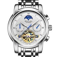 SOLLEN 41mm AAA relojes de los hombres de negocios reloj mecánico automático hueco de acero de mesa masculino impermeable luminosa multifunción
