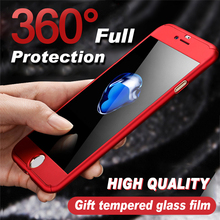 360 Full Cover Phone Case For iPhone 8 plus  PC Protective 7 Plus coque With Tempered Glass