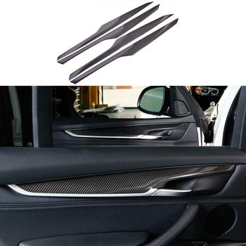 4PCS 100% Real Carbon Fiber Door Stripe Panel Cover Trim For BMW X5 F15 2014-2017 & X6 F16 2015-2017