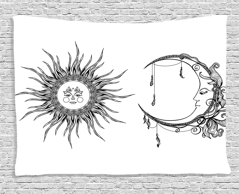 Collection de décoration d'appartement soleil et lune avec visage anthropomorphe ethnique céleste symbole spirituel décor impression tapisserie de chambre