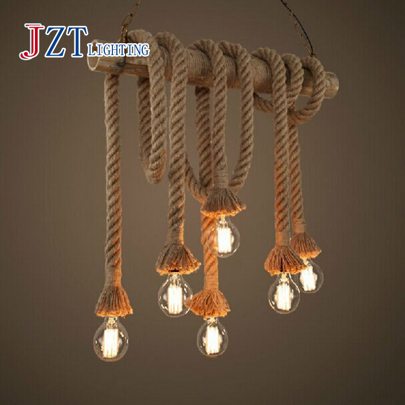 M American Rural Hemp Rope Lamps E27 Vintage Industrial Lamps 90-260V Double Head Hand Knitted Hemp Rope Light For Retaurant