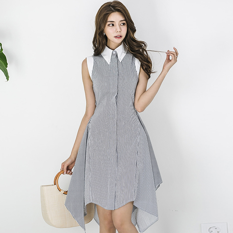 2018 Summer Striped Irregular Vestidos Women Sleeveless Knee-Length OL Office Cloth Swing Work Casual Dress