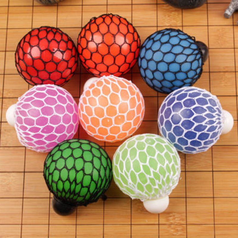 Funny Anti Stress Squishy Mesh Ball Grape Squeeze Sensory Fruity Toys Novelty In Sensory Kids Adults