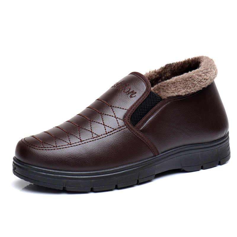 Модные черные мужские ботинки дизайнерская зимняя обувь мужские теплые короткие плюшевые повседневные меховые ботинки мужские 2018 Новые Теплые зимние мужские ботинки